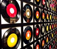 Wall of vinyl records
