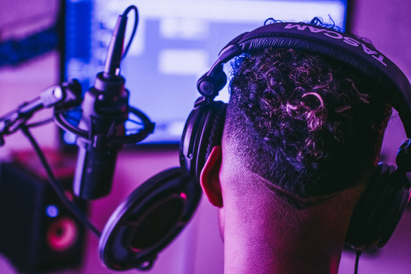 singer recording in studio